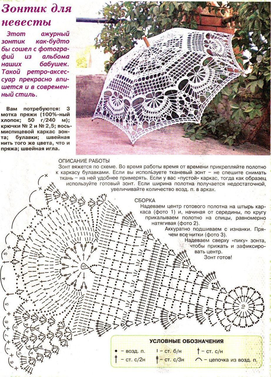 Схема вязания зонтика крючком для невесты